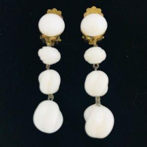 VINTAGE 1940's 4 Bead Milk Glass Dangly Earrings